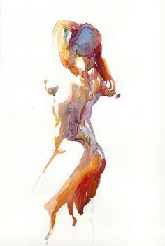 Helen Ström: Watercolor figure sketches (4)...