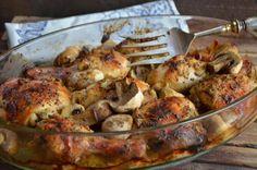Kurczak pieczony w musztardzie. Kurczak pieczony z pieczarkami - niebo na talerzu Poultry, Entrees, Cauliflower, Pork, Cooking Recipes, Chicken, Dinner, Vegetables, Poland