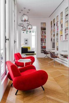 mid century modern, interior design, parisian apartment, library, bookshelf, workspace, eames