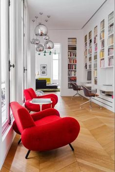 mid century modern, interior design, parisian apartment, library, bookshelf, workspace, eames