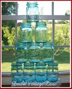 10 Blue Ball Mason Jars PINT size by DownVintageLane on Etsy, $90.00