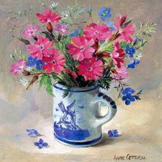 """Small square drinks coaster produced from high quality materials with a cork back. Depicting Campions with Speedwell in a blue and white Dutch doll's mug. From the original oil painting by Anne Cotterill. The coasters are eminently collectable and make an ideal gift. From the original oil painting by Anne Cotterill. 3¾"""" x 3¾"""" approx. (10cm x 10cm)."""
