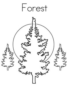 Forest Coloring Page - Twisty Noodle Forest Coloring Pages, Coloring Pages Nature, Tree Coloring Page, Coloring Pages For Kids, Kids Pages, Online Coloring, Kids Prints, Classroom Decor, Colour Images