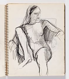 Diebenkorn, Graphite on paper, Page 011 from Sketchbook # 23 [seated female nude]