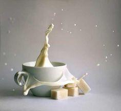 Still life photography milk sugar tea