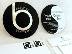 Fun Yin Yang Double Sided Foil Stamped Beats by Dre Logo Bat Mitzvah Invitation with matching Custom Stamps. paperworksandevents.com #batmitzvah #invitation #yinyang #beatsbydre #roundinvitation #customstamps #backandwhite #paperworksandevents