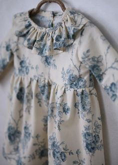 Handmade Blue Floral Dress SweetHannahBDesigns on Etsy Little Girl Fashion, Little Girl Dresses, Toddler Fashion, Kids Fashion, Girls Dresses, Fashion Hats, Baby Outfits, Kids Outfits, Moda Kids
