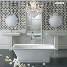 Buy the Kohler White Direct. Shop for the Kohler White x Freestanding Soaking Tub with Center Drain from the Reve Collection and save. Pedestal Sink Bathroom, Kohler Bathroom, Bathroom Fixtures, Master Bathroom, Master Tub, Bathroom Tubs, Relaxing Bathroom, Bathroom Laundry, Plumbing Fixtures