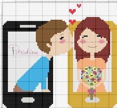 amore e smartphone schema punto croce - cross Stitch - Kreuzstich - Punto de Cruz