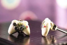 Tiny XBOX 360 Controller Stud Earrings - Classic White - Polymer Clay. $8.50, via Etsy.