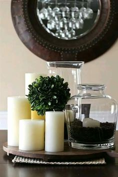 Dining Room Candle Centerpieces Unique Simple Centerpiece Ndles Jar Filled with Coffee Beans Dining Room Table Centerpieces, Simple Centerpieces, Table Decorations, Centerpiece Ideas, Centerpiece For Kitchen Table, Candle Centerpieces For Home, Mirror Centerpiece, Vase Ideas, Deco Table