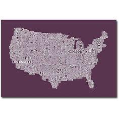 Trademark Art US City Map IV Canvas Wall Art by Michael Tompsett, Size: 16 x 24, Multicolor