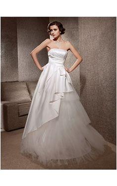 A-line Strapless Sweep/Brush Train Satin Tulle Wedding Dress