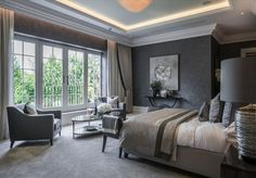 "Alexander James Interiors on Instagram: ""Striking in its sophisticated grey palette, our bedroom design is warm and rich in tone, with the abstract art highlighting the glamorous…"" Wood Bed Design, Huge Master Bedroom, Modern Bedroom Design, Bedroom Designs, Diy Bedroom Decor, Home Decor, Bedroom Inspo, Bedroom Ideas, Luxurious Bedrooms"