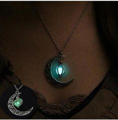 Glow in the dark crescent moon necklace, Crescent Moon Glow Necklace H – Owame