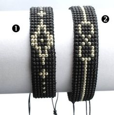 This bracelet is made out of tiny Japanese Toho beads. Wrist size - inches) Width - Worn alone or layered with your wath this bracelet makes a cute addition and compliments any look, for day or night. Perfect gift for a boyfiend, Loom Bracelet Patterns, Bead Loom Bracelets, Bracelet Crafts, Bead Loom Patterns, Woven Bracelets, Friendship Bracelet Patterns, Beading Patterns, Beaded Earrings, Beaded Jewelry