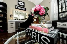 glamorous make up station by Karina Cabuto Hernandez featuring Impressions Vanity Elegant Makeup, Pretty Girl Swag, Chanel, Room Planner, Makeup Rooms, Tumblr, Make Up Collection, Makeup Storage, Beauty Room