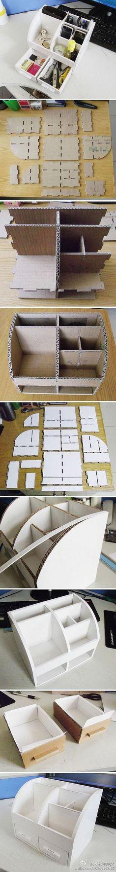 办公室的杂物们有家喽~~利用手边的硬纸盒自己做个整理箱吧~~超实用哒!