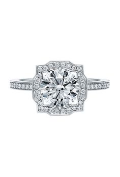 "Brides.com: 65 Vintage-Inspired Engagement Rings ""Asta"" princess ring in 18K white gold with a 0.5 ct princess-cut diamond, $4,070, Megan ThornePhoto: Courtesy of Megan Thorne"