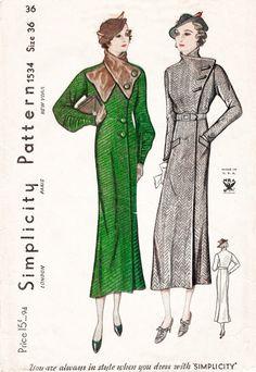 Vintage patron de couture des années 30 années 1930 manteau fourrure amovible Col 2 styles buste 36 reproduction de repro b36
