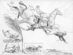 He landed and rolled onto Jim Ryan's legs  Jim saw him coming on over and ducked his head ~ Cool Mr. Ryan  Glangesia falls ~ 3rd Fence ~ 1932 Grand National  Signed in pencil Paul Brown and dated 1933