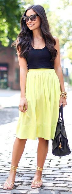 Elizabeth And James Citrus Pleated Knee Length Skirt by With Love From Kat