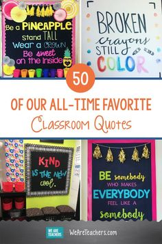 "50 of Our All-Time Favorite Classroom Quotes. From ""don't let anyone dull your sparkle,"" to ""your voice matters,"" here are some of the best classroom quotes for motivating & inspiring kids. Ela Classroom, English Classroom, Classroom Setup, Classroom Organization, Classroom Management, Classroom Projects, K Quotes, Crush Quotes, Motivational Quotes"