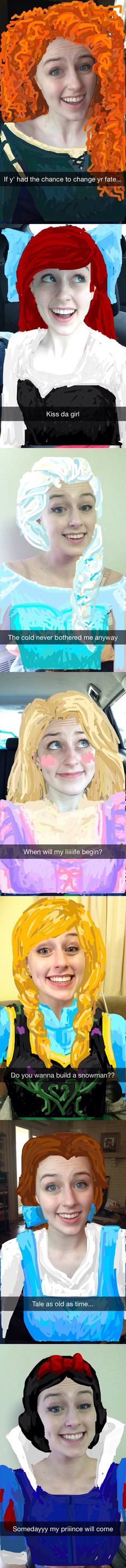 HOW IS THIS POSSIBLE. DOES SHE DO ANYTHING ELSE WITH HER LIFE?? Disney Princess Snapchats, I want to try