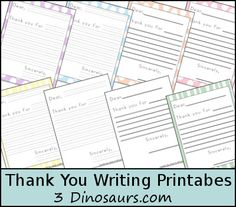 Free Thank You Writing Printables: Color with dots or Stripes & Blank - Lines and Guide Lines - 3Dinosaurs.com