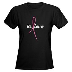 PINK RIBBON BELIEVE Women's Dark T-Shirt #pink #breastcancer