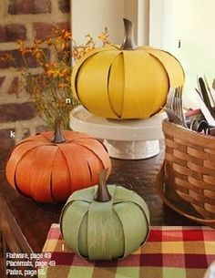 Longaberger yellow, orange, and green pumpkin baskets.