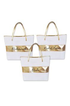 Bridal Party Gold Striped Tote Bag Style EB3175BPW