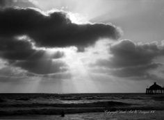 Spectacular Black and White Sunset  from Imperial Beach, California $14.99