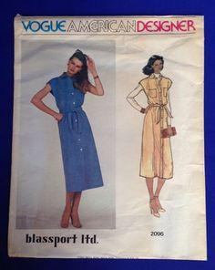 VTG Vogue Pattern 2096 American Designer Bill Blass Blassport Dress SZ 12 Sewing…