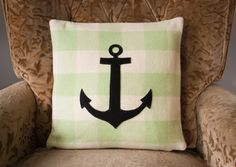 NZFINCH green and white nautical anchor cushion cover - by NZFINCH