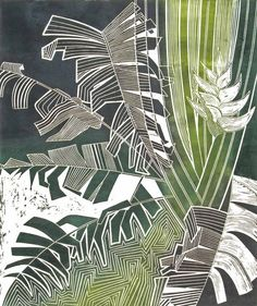 Linocut Prints by Tessa Charles Linocut Prints, Art Prints, Illustration Art, Illustrations, Tropical Art, Motif Floral, Art Graphique, Gravure, Printmaking