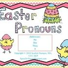 Free! Easter pronoun card game great for speech therapy or a language center in a regular education classroom.  Direc...