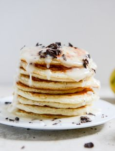 Wake up and make Whipped Ricotta Pancakes with Bittersweet Chocolate and Lemon Glaze! #recipe #breakfast