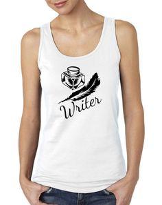 Writer Quill and Ink Print Ladies or Mens Tank Top, Nerd Girl Tees,Geek Chic