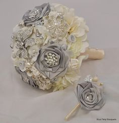 Couture Rose with matching Boutonniere:) #bridal #bouquet