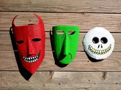 HOMEMADE LOCK, SHOCK, AND BARREL MASKS. MADE FROM CARDBOARD