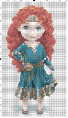 Mini Merida cross stitch pattern PDF by Bluegiantstitch on Etsy, £1.20