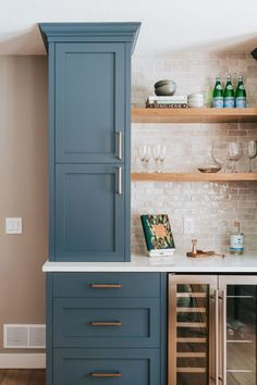 Crystal Lake Main Level Reveal | construction2style Small Kitchen Redo, Kitchen And Bath Design, Bathroom Trends, Kitchen Trends, Home Bar Designs, Kitchen Cabinetry, Home Remodeling, Design Trends, Tall Cabinet Storage