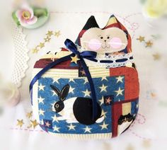 Patriotic Cat Pillow Doll Cloth Doll 7 inch by CharlotteStyle