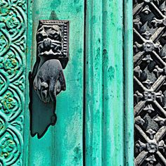 Stunning rich color and old world design come together in this architectural door and petite door knocker shaped like a hand. #door #doorknocker #entry #pic #hardware #architecture #architect #style #lifestyle #mcintoshnesbit #luxury #photo #home #france #french #pattern #cognac #instalike #instagram #instadaily #fineart #photography #art #gallery #studio #teal