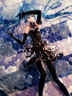 Gelbooru- Image View - 1girl ahoge aqua eyes aqua hair arm up black dress black gloves black legwear blue eyes bob (biyonbiyon) cloud dress elbow gloves frown gloves hatsune miku highres long hair lying on back partially submerged reflection ripples sky solo thighhighs twintails very long hair vocaloid water | 1738854