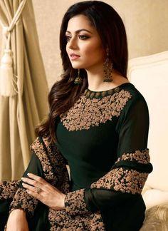 Siya Fashion Drashti Dhami Faux Georgette Anarkali Suit In Cyan Color Pakistani Dresses, Indian Dresses, Indian Outfits, Designer Anarkali, Kaftan, Drashti Dhami, Indian Designer Suits, Kurti Designs Party Wear, Bold Fashion
