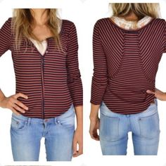 NWT Free People Striped Pullover Striped henley with partial button down. Navy stripes. also in black & white. Love Discount with bundle  Free People Tops
