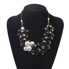 2015 New Fashion Chunky Bead White & Black Pearl Necklace Designer Pendientes Perlas To.Us Necklaces amp Pendants Pearl Jewelry