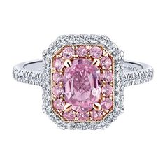Gabriel & Co. Pink Sapphire Halo Engagement Ring (47.360 ARS) ❤ liked on Polyvore featuring jewelry, rings, accessories, pink, pink ring, pink sapphire ring, band engagement rings, pink sapphire jewelry and pave diamond ring